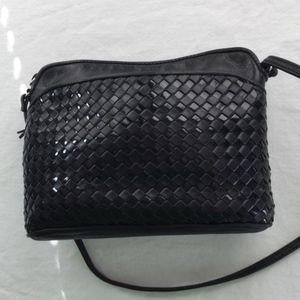 Ganson Black leather vintage quilted crossbody new